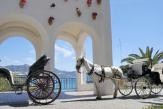 Horse driven carriage. In Nerja (near Malaga) in Spain stock images