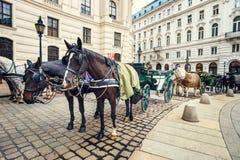 Horse-driven carriage at Hofburg palace Stock Photos
