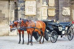 Horse-driven carriage in Vienna, Austria Stock Photo