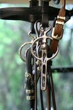 Horse driving bit. Hanging up in the saddlers was a horse driving bridle which had been made Royalty Free Stock Images