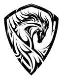 Horse emblem as shield. Horse emblem on the shield crest shape Royalty Free Stock Photo