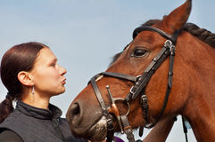 Horse and Equestrienne Royalty Free Stock Images
