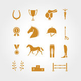 Horse equipment icon set gold thin line. Horse line icon golden logo, logotype. Horseshoe, winner, horse, saddle, equestrian icon. Line icon, equestrian horse Stock Photos