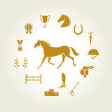 Horse equipment icon set gold. For web site Royalty Free Stock Photography