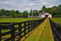 Horse Farm. Rural view of horse farm with long view of wooden fence Stock Photography