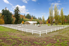 Horse farm with white fence and fall colorful leaves. Stock Photo