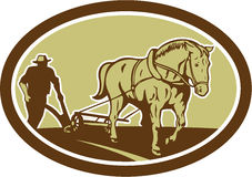 Horse and Farmer Plowing Farm Oval Retro Stock Image