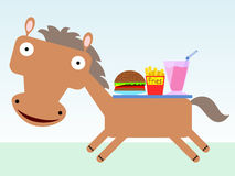 Horse with fast food Stock Photos