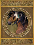 Horse with feathers. An illustration of a native American horse with feathers in its mane Stock Photography
