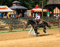 Horse Female Equestrian MD Renaissance Festival. In the spirit of 16th century England, a demonstration of jousting etiquette delights patrons from all over the Royalty Free Stock Photography
