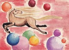 Horse flies against the backdrop of colorful balloons - Children's drawing. Water color Royalty Free Stock Image