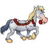 Horse and flowers. Highly detailed cartoon animal Royalty Free Stock Images