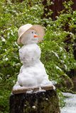 Snowman on the green background. Catalysms of nature. Spring day royalty free stock image