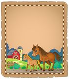 Horse with foal theme parchment 1 Stock Photos