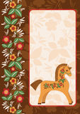 Horse with folk ornament 2. Style hohloma. Vector colorful background. Wooden horse symbol of New Year 2014 Stock Images
