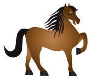 Horse Forward Pose Vector Illusrtation. Horse Forward Pose Side View Isolated on White Background Illustration Stock Photography