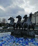 Fountain of horses in winter stock image