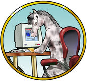 Horse in front of a computer. Illustration of a cute horse in front of a computer - Cartoon style royalty free illustration