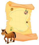 A horse in front of the treasure map Royalty Free Stock Photography