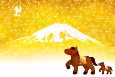 Horse Fuji New Years card. Background illustration of a pretty landscape stock illustration