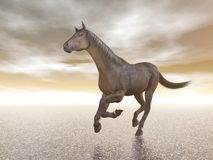 Horse galloping - 3D render. Beautiful brown horse galloping freely upon the water Royalty Free Stock Image