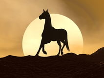 Horse galloping by sunset - 3D render Stock Photography