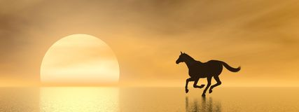 Horse galloping to the sun - 3D render Royalty Free Stock Photography