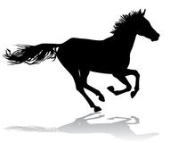 Horse 2. A horse gallops fast,  illustration silhouette on a white background Royalty Free Stock Photography