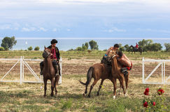 Horse game in Kyrgyzstan. This photo was taken in Kyrgyzstan. The Central Asian country of Kyrgyzstan offers many possibilities for excellent horse riding stock photography