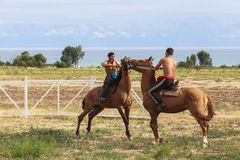 Horse game at Song Kul Lake in Kyrgyzstan. This photo was taken in Song kul Lake in Kyrgyzstan. The Central Asian country of Kyrgyzstan offers many possibilities Stock Photography