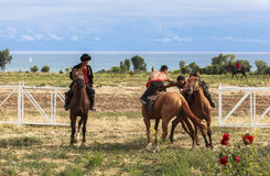 Horse game at Song Kul Lake in Kyrgyzstan. This photo was taken in Song kul Lake in Kyrgyzstan. The Central Asian country of Kyrgyzstan offers many possibilities royalty free stock image