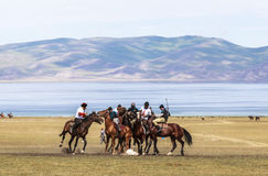Horse Games at Song Kul Lake in Kyrgyzstan Royalty Free Stock Images