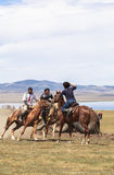 Horse Games at Song Kul Lake in Kyrgyzstan. This photo was taken in Song kul Lake in Kyrgyzstan. The Central Asian country of Kyrgyzstan offers many Stock Photography