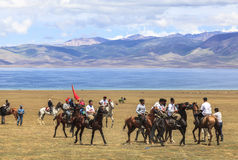 Horse Games at Song Kul Lake in Kyrgyzstan. This photo was taken in Song kul Lake in Kyrgyzstan. The Central Asian country of Kyrgyzstan offers many Royalty Free Stock Photos