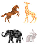 Horse, giraffe, elephant and rabbit in polygon shapes Stock Images