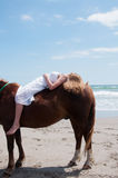 Horse and girl at beach Royalty Free Stock Photography