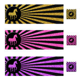 Horse Glitter Banner and Button Set. A set of three horse glitter banners with matching buttons. Glitter (gold, pink, and purple) and black rays flow to the Stock Photography