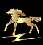Horse in gold color Stock Photos