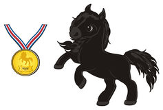 Horse with gold object. Cute black horse stand with gold medal and is a winner Stock Images