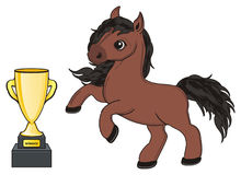 Horse and gold prize. Brown horse stand with one gold cup Royalty Free Stock Photo