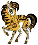 Horse in gold style. Illustration of a horse in decorative style. Various components are grouped separately Stock Images