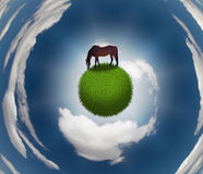 Horse on Grassy Sphere. With circular clouds Royalty Free Stock Photo