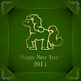 Horse on green background. Green New Years background with little horse, illustration Stock Image