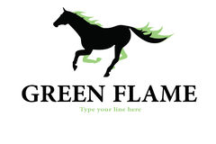 Horse green flames logo. A beautiful black horse with green flames on him Royalty Free Stock Images