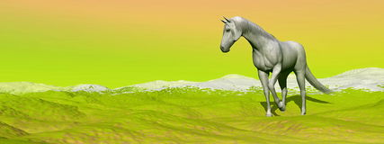 Horse in green landscape - 3D render Royalty Free Stock Photo