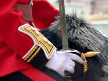 Horse guard. Uniform of cavelry royalty free stock photo
