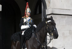 Horse Guard. The Queen's Life Guard sentry in front of Horse Guard parade in London stock photos