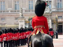 Horse Guards. At Buckingham Palace royalty free stock photos