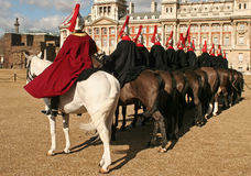 Horse guards. Men on parade in london Royalty Free Stock Images