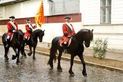 Horse guards of the fortress Alba Carolina stock photography